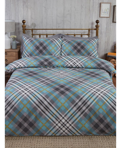 Tartan Brushed Cotton Duvet Cover Set - Duck Egg - Patterned Bedding