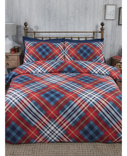Tartan Brushed Cotton Duvet Cover Set - Red - Patterned Bedding