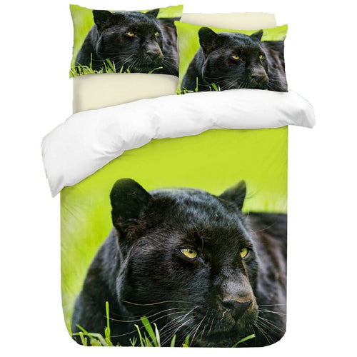 Panther Duvet (Green) - HD Printed Duvet / Animal Bedding