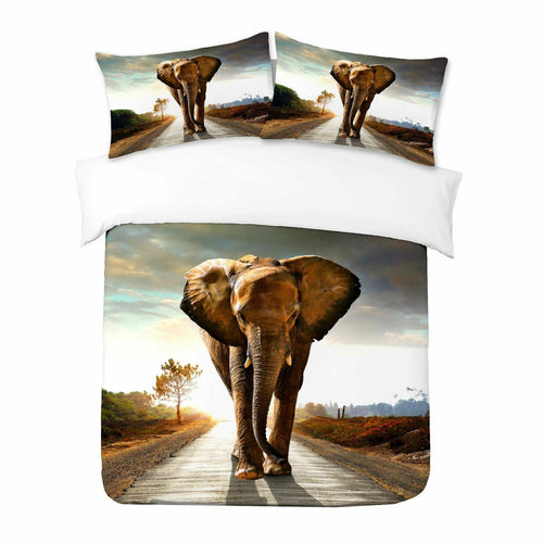 Elephant in Road Duvet - HD Printed Duvet / Animal Bedding