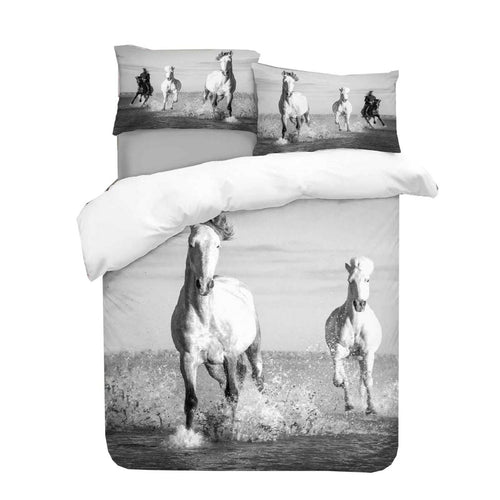 Horses in Water Duvet - HD Printed Duvet / Animal Bedding