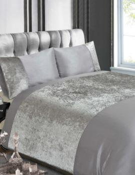 Silver Crushed Velvet Duvet Cover Set - Velvet Bedding