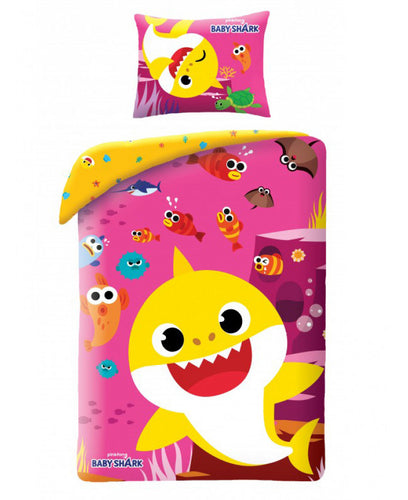 Baby Shark Pink Single Cotton Duvet Cover Set - Baby Shark Bedding