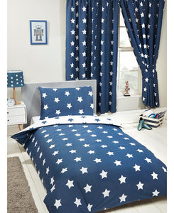 Navy Blue And White Stars Duvet Cover And Pillowcase Set - Kids Bedding