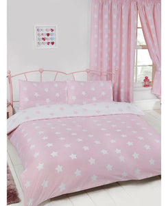 Pink and White Stars Duvet Cover and Pillowcase Set - Stars Bedding