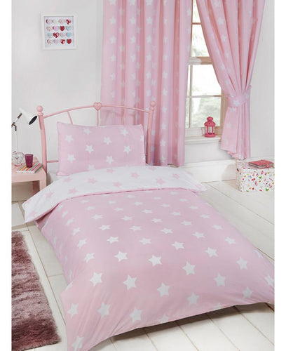 Pink and White Stars Duvet Cover and Pillowcase Set - Kids Bedding