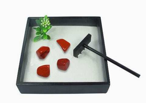 Small Zen Garden with Tumblestones - Red Jasper