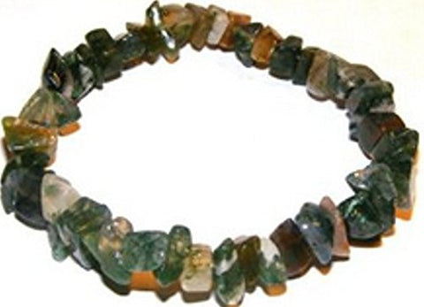 Gem Chip Bracelet -Green Moss agate