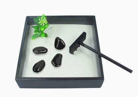 Small Zen Garden with Tumblestones - Black Obsidian