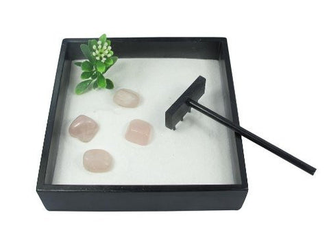 Small Zen Garden with Tumblestones - Crystal Quartz