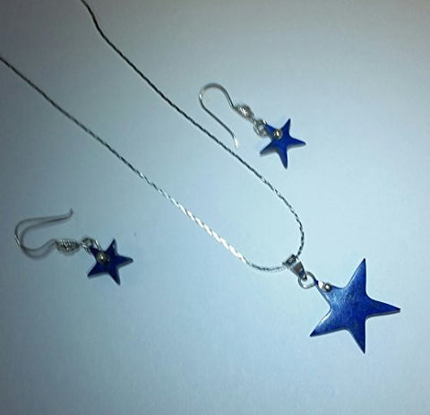 Laps Lazuli Star Earring and Pendant with Sterling Silver Chain