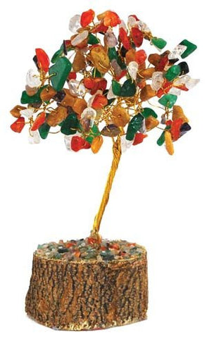 Feng Shui Gemstone Crystal Tree with Wooden Base Handmade