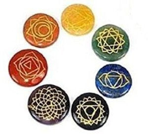 Chakra Symbol Gemstone Disc Set of 7 in Storage Pouch