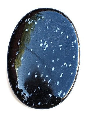 Obsidian Snowflake Large Palm Stone - Stone of Purity