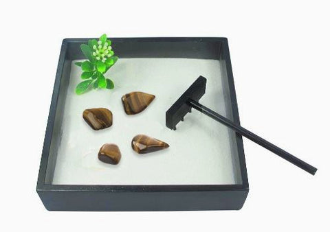 Small Zen Garden with Tumblestones - Tigers Eye