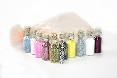 10 Mini Bottles of Glitter Fairy Dust Assorted Colours