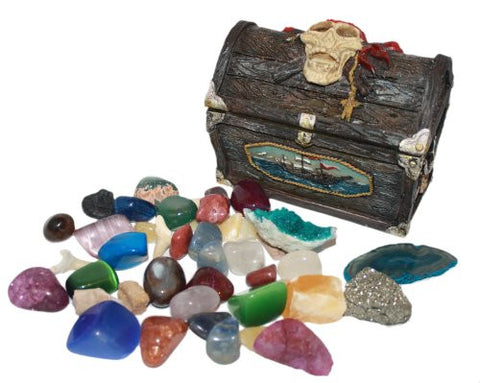 Pirate's Treasure Chest full of Gemstones, Fossils and Tumble Stones
