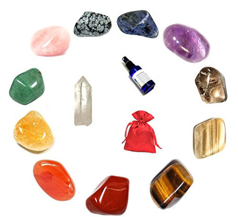 Crystal Stone Set of 12 Healing Crystals presented within a Satin Pouch.