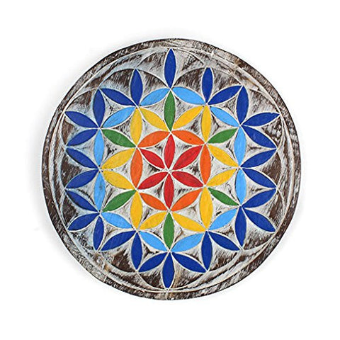 Chakra Flower of Life Wooden Plaque