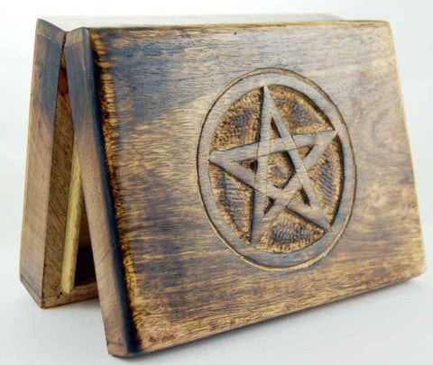 Wooden Tarot Card Box with Brass Engraved Pentagram (17cm x 13cm)
