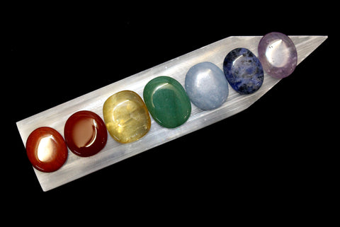 Chakra Ovals with Selenite Charging Ruler Set
