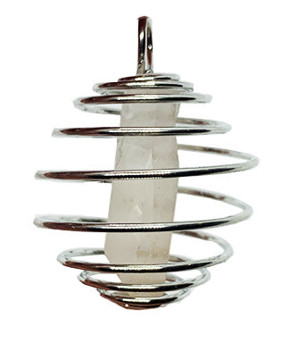 Clear Quartz Natural Crystal Point Spiral Pendant