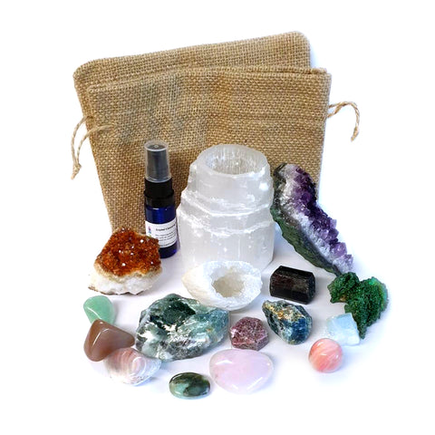 Crystals for Mum 18pc Collection Includes Fluorite, Apatite, Emerald, Ruby, Aquamarine, Malachite,Black Tourmaline and so Much More.
