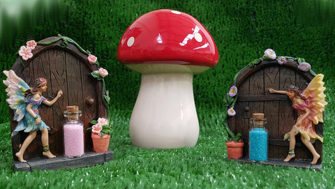 GeoFossils® - Set of 2 Sparkle Fairy Doors with 2 Fairy Dust Bottles and Toadstool