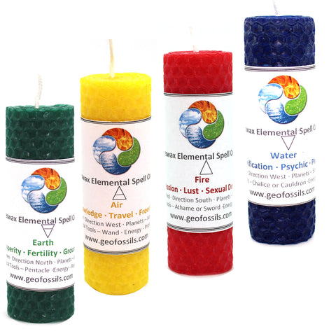 Beeswax Handmade Spell Candles - Elements 4pk 30mm
