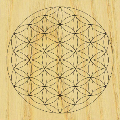 sacred geometry wooden crystal grid plate flower of life geofossils