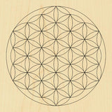 Sacred Geometry Wooden Crystal Grid Plate - Flower of Life