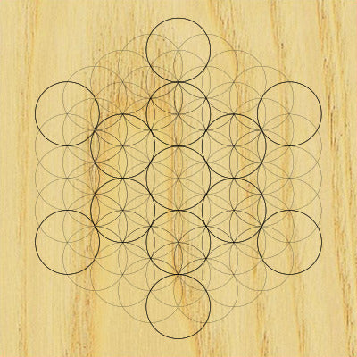 Sacred Geometry Wooden Crystal Grid Plate - Fruit of Life