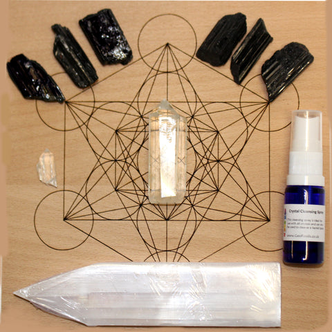 Black Tourmaline Crystal Grid For Protection