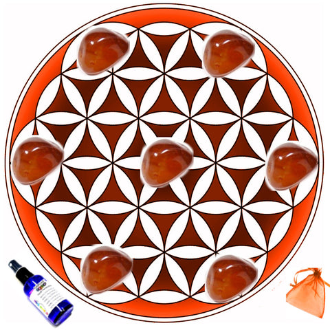 Carnelian Crystal Grid For Creativity + Fertility