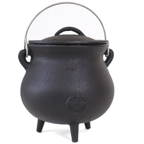 19cm Cast Iron Cauldron with Pentacle