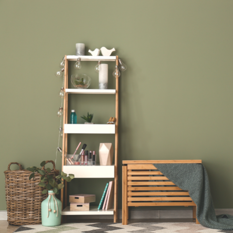 Novara Green Olive Green Eco Paint Room shot