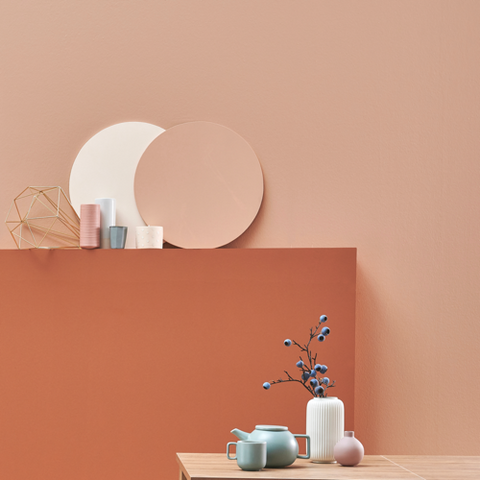 The Donald Peach pale terracotta eco paint room view