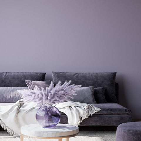 Harlech Purple Eco Paint Room with purple sofa