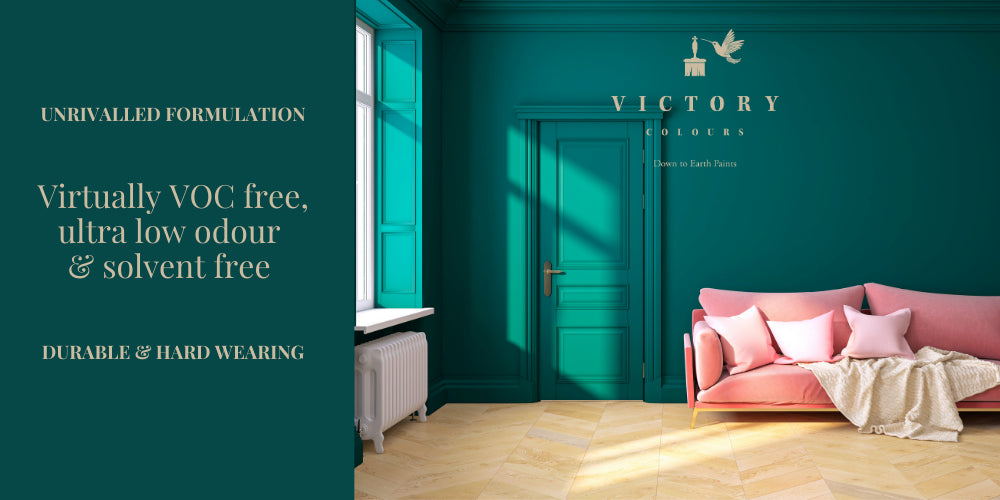 Victory Colours Low Odour, Virtually VOC Free, Solvent Free Paint Dabbling Duck Photo of living room with Pink Sofa