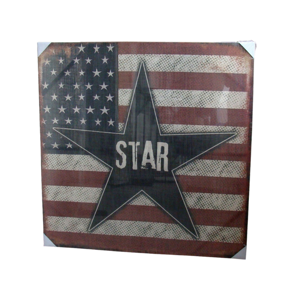 Print, Star On Flag Artwork Stretched Wood Frame