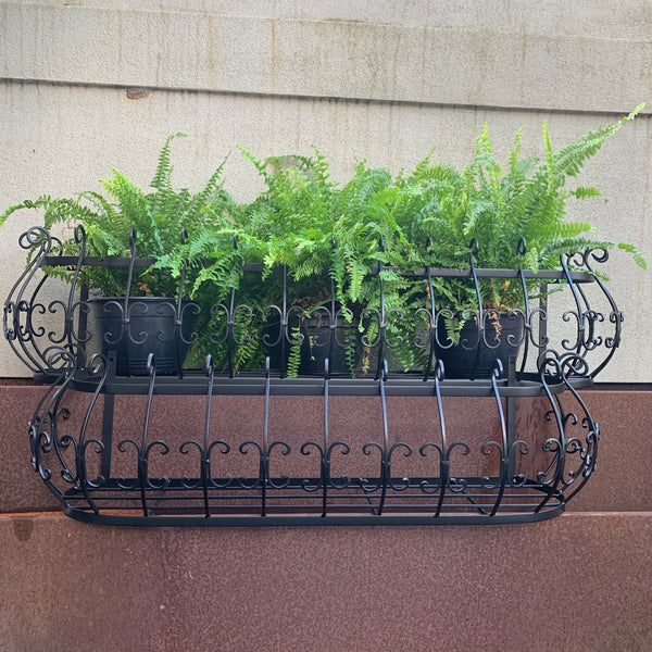 Set of 2, Wall/Window Pot Planters, Box Basket in Satin Black Wrought Iron