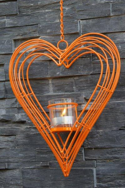 CANDLE HOLDER-HANGING HEART-ORANGE 31X8X38-58CM