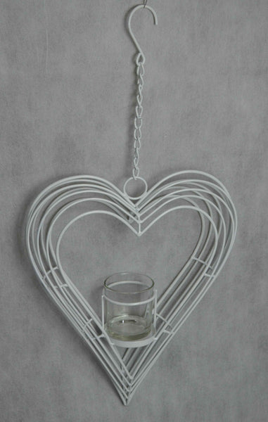Candle Holder Tea Light Metal Hanging Heart White Garden Decor 31X8X38-58cm