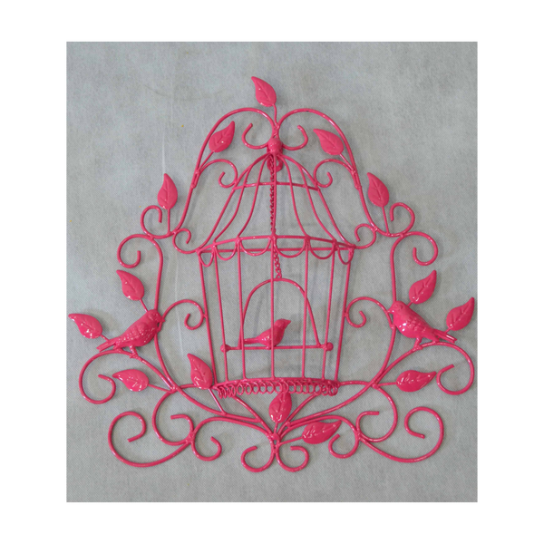 Metal Wall Decor Birdcage - Pink