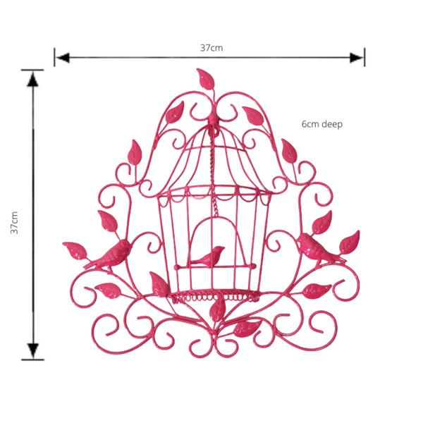 Metal Wall Decor Birdcage - Pink with dimensions