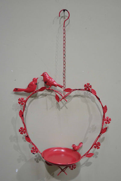 HANGING HEART BIRDFEEDER RED 37x15x41-64cm