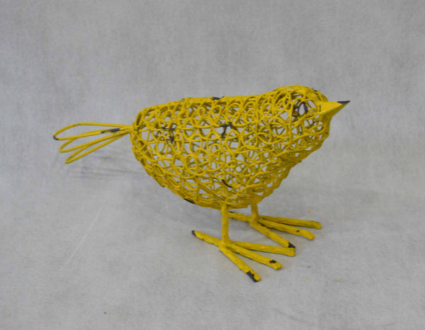 Bird Wire Head Down Yellow Metal Sculpture Figurine Home Garden Decor  25x9x17cm