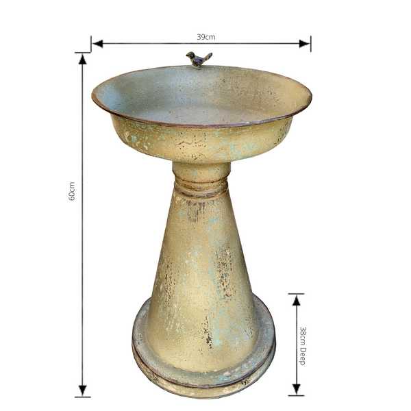 bird feeder or birdbath in antiqued finish with dimensions