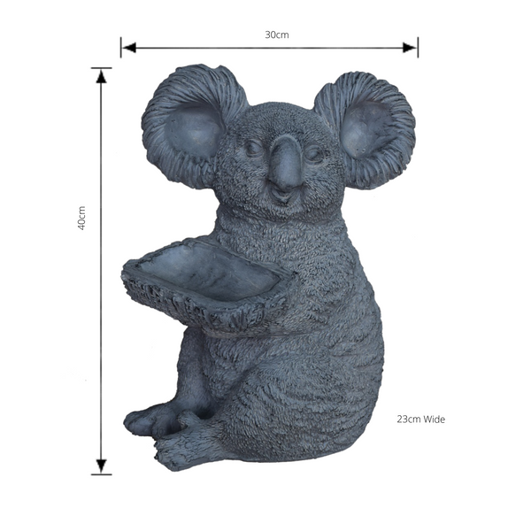 Statue - Koala Holding a Tray with dimensions