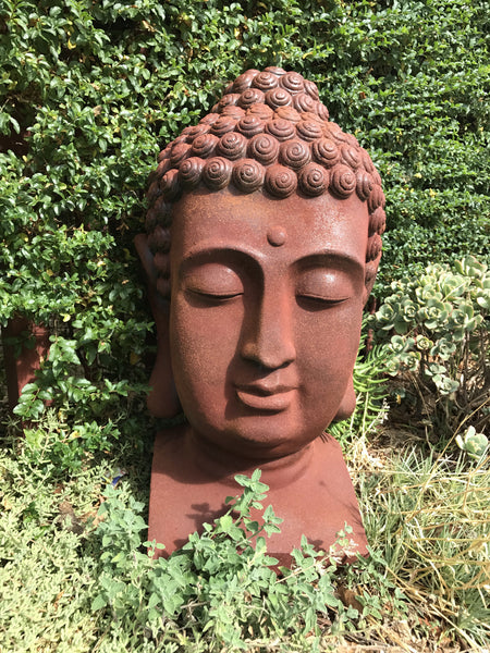 Statue Buddha Head Large Sculpture Figurine Ornament Feature Garden Decor  35x34x60cm